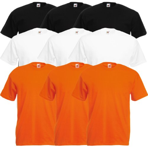 Fruit of the Loom Original Valueweight T Rundhals T-Shirt F140 3er 6er 9er 12er Pack 3x black 3x white 3x royal blue