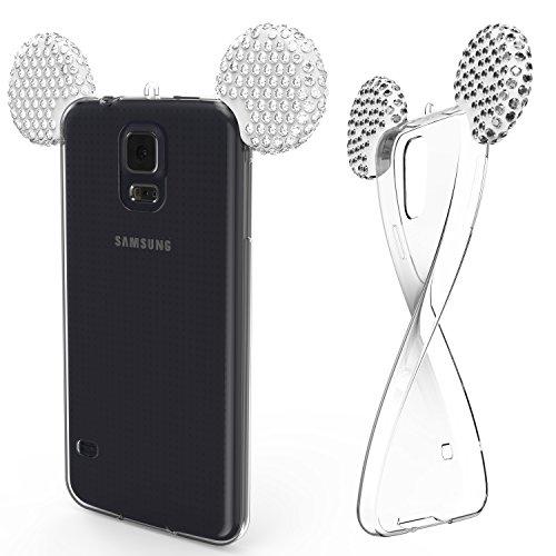 Urcover Kompatibel mit Samsung Galaxy S5 Handyhülle Maus Ohren Bling Ear Schutzhülle Case Cover Etui Crystal Bär Maus Ohren Girl TPU Diamant Silber Crystal Bling Case Cover
