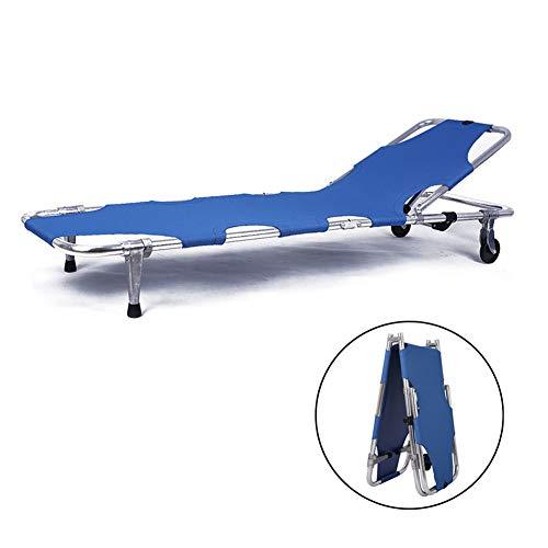 Medizinische Krankentrage, Flache, klappbare, tragbare Rettungsbahre aus Aluminiumlegierung mit Zugstange,Blue