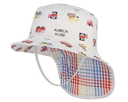 DEMU Dinosaurier Muster Kinderhut Fischerhut Sonnenhut Strandhut Babymütze Sonnenschutz (Eimer Hut Weiß, Hut Umfang 54cm) (Mädchen Sonne Weiße Kleider)