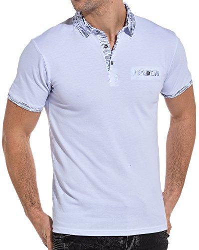 BLZ Jeans - Polo Homme Blanc col Graphique