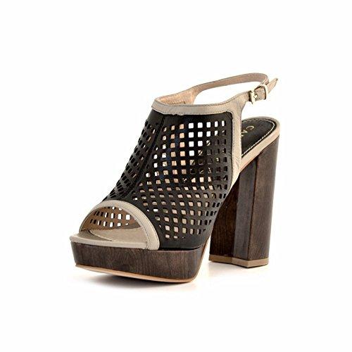 sandali CafèNoir donna tacco pelle nera Nero