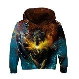 RAISEVERN Teen Jungen Mädchen Galaxy Langarm-Sweatshirts Tasche Pullover 3D Hoodies Wolf klein