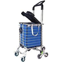 Carro de la compra plegable con ruedas de escalada y freno, carro de carro plegable