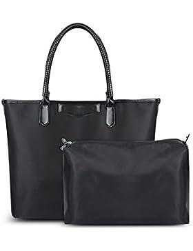 Vbiger Damen Handtasche Schwarz Shopper Elegant Tote Handtasche Damen Tasche Henkeltasche 2 in 1 Tasche Set