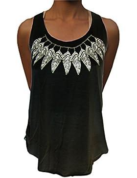 Panasiam - Top da donna, nero/bianco, taglia M/L