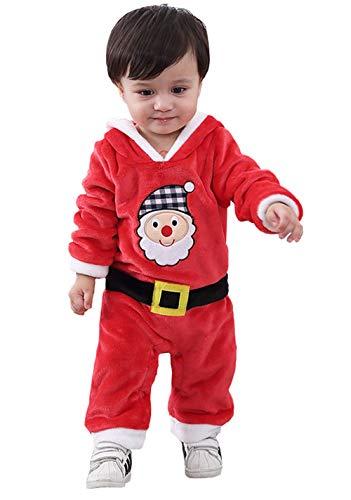 cool elves Weihnachten Strampler Baby Einteiler Pyjama Langarm Flaum Nachtwäsche Strampelhöschen Rot Weihnachtsmann Kinder Winter Größe 95