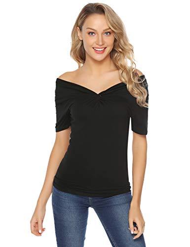 Aibrou Basic T-Shirt Oberteile Tunika Damen Sommer Einfarbig V-Ausschnitt Baumwolle Kurzarm Top Bluse schwarz - Baumwolle Leopard Rock