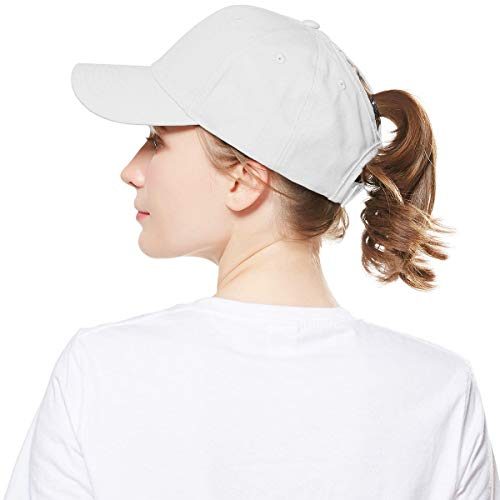 WELROG Dame Baseball Kappe Hip-Hop-Hut Verstellbar Baumwolle Pferdeschwanz (Weiß) (Damen Weißen Hut)