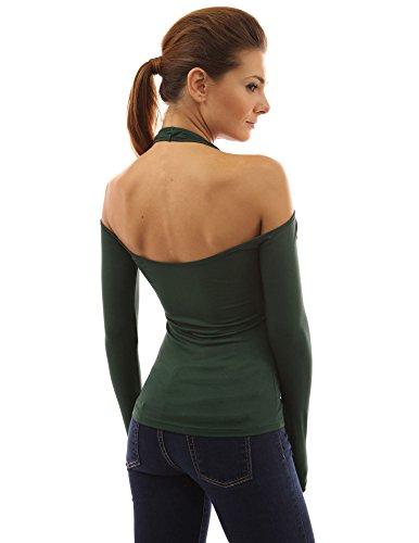 PattyBoutik Damen Schulterfreies Shirt mit langen Ärmeln Dunkelgrün
