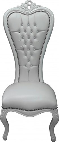 Casa Padrino Baroque throne chair Queen Anne White leather look / White with Bling Bling (Leather Club Chair)