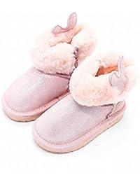 Las Niñas de Invierno Princesa Botas de Nieve para Niños Calientes Más Terciopelo Zapatos de Bebé Botines,Rosado,27