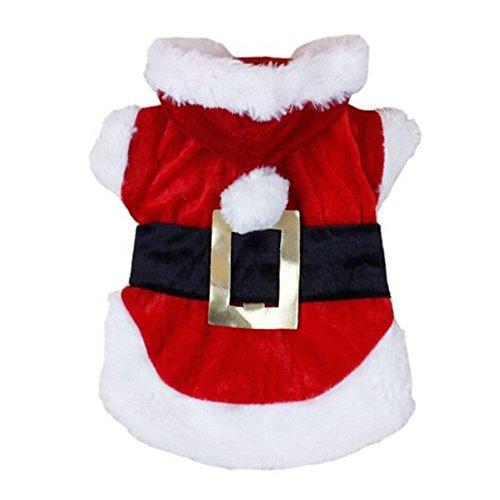 SODIAL(R) Weihnachten Hunde Bekleidung Weihnachtsmann Huendchen Kostueme Kleidung Haustier Kleid Rot mit Hund Glocke (M, rot)