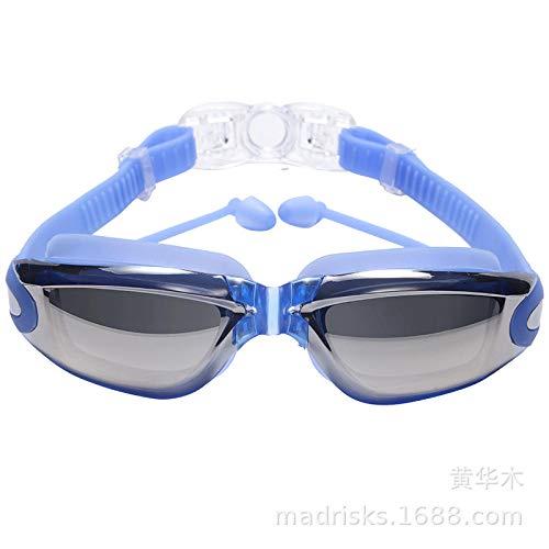 FFJJQAN Galvanisierte Ohrstöpsel HD-Taucher- und Schnorchelbrille, Blaue Galvanobrille