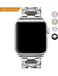 Mornex Correa para Apple Watch 38mm, Reloj Reemplazo de Banda Acero Inoxidable para Apple iWatch Accesorios Series 3, Series 2, Series 1, Plata