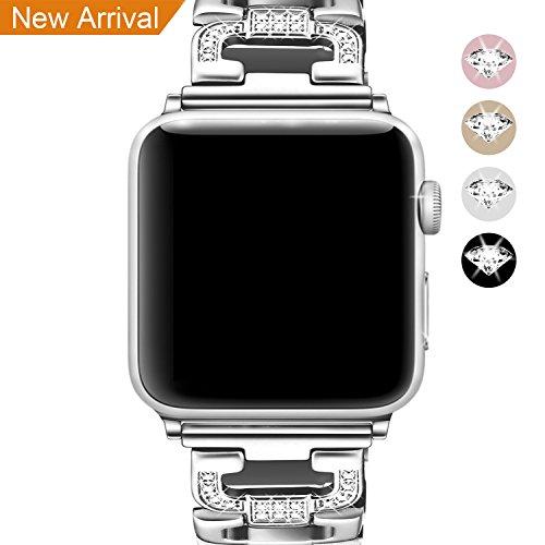 Bracelet pour Apple Watch 38mm, Mornex Bande Montre pour iWatch en Acier inoxydable en Métal Sangles de Remplacement Band pour Apple Watch serie 3, 2, 1, Argente
