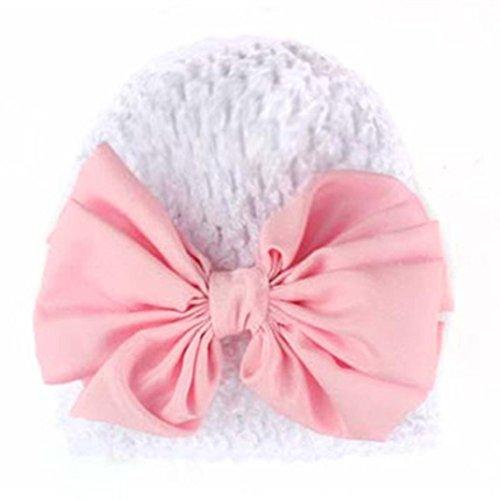 Babybekleidung Hüte & Mützen Longra Winter Baby Kinder Mädchen Warme Bowknot aushöhlen Strickmütze Mützen Wolle Hüte(0-2YEARS) (Beige) (White)