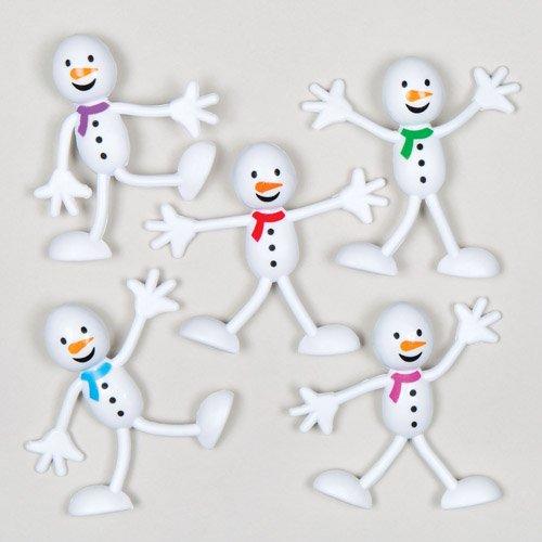 Bonhommes de neige souples à glisser dans les chaussettes et les pochettes-surprises des enfants en fin d'année et pour Noël (Lot de 5).