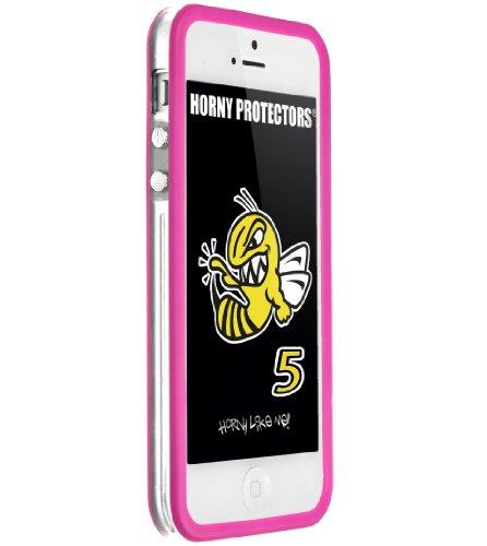 Horny Protectors Cover Case Bumper Schutzhülle für Apple iPhone 5 TPU Silikon lila/schwarz transparent - pink