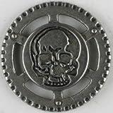 Vollmetallknopf Steampunk Totenkopf, 30 mm - Matt Silber