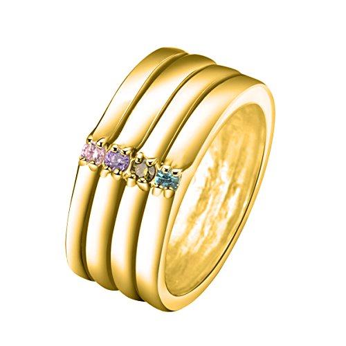 Quiges Damen Personalisiert Gravur Name 4 Stapel Ring 18 Karat Gold 925 Sterling Silber Zirkonia Geburtsstein Ringgröße 59