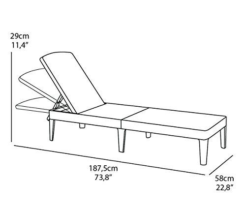 Allibert Sunlounger mit Auflage Sonnenliege, Graphit/Grau, 58 x 187 x 29 cm Geben Sie die Erste Bewertung für Diesen Artikel ab