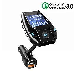 Bluetooth FM Transmitter, drahtlose Freisprecheinrichtung, FM Transmitter Audio Adapter, mit QC3.0 Schnellladung Auto-Ladegerät und 2.4A Dual USB Ladegerät, AUX In, USB Disk, TF Karte