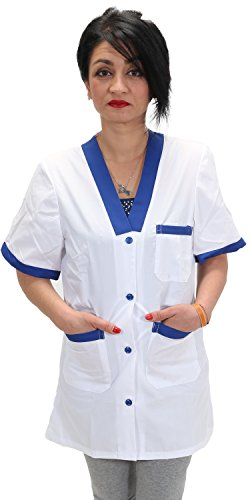 Casacca,camice da lavoro donna per maestra asilo supermercati imprese di pulizia domestiche (m=44-46, bianco inserto blu)