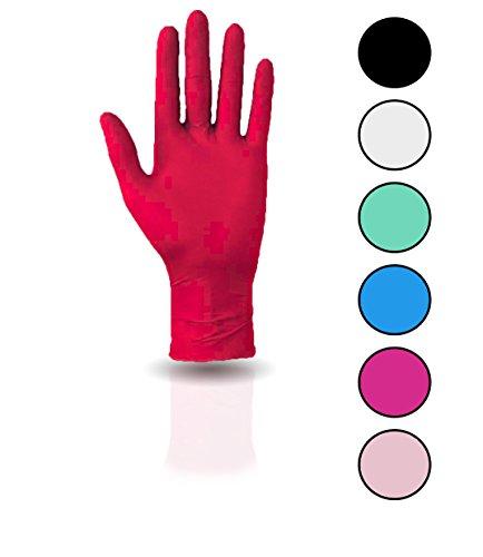 100 Stück Nitril Einweghandschuhe, Einmalhandschuhe puderfreie und unsterile Kochhandschuhe Tättowierhandschuhe Tattoo Handschuhe, (L, rot)