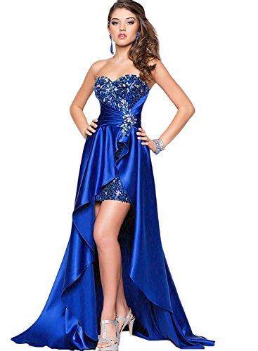 AZBRO Damen One Shoulder Schlitz Abendkleid Brautjungfernkleid Blue