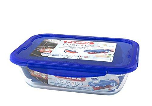 Dajar 36846 Cook & Go Glasbehälter mit Deckel Cook und Go, Pyrex, 3,4 L, Glas, Blau/transparent, 30,6 x 23,3 x 9,3 cm