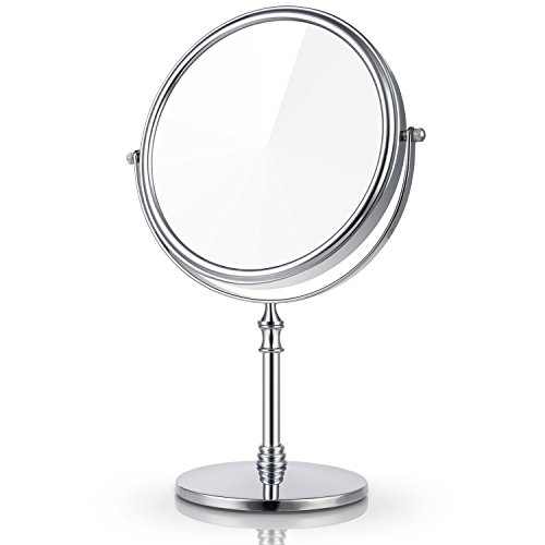 Miusco Grand Miroir de Maquillage de Table Cosmetique, Ronde 1X / 7X Grossissement Double Face et de 7 3/4 Pouces