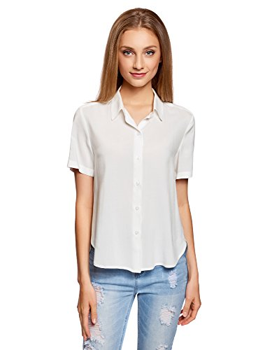 oodji Ultra Damen Viskose-Bluse mit Kurzen Ärmeln, Weiß, DE 36/EU 38/S