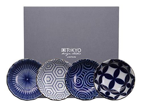 Tokyo Design Studio, Bol en porcelaine motif Floral Blue - Coffret de 4, Diamètre: 9.3cm