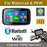 Elebest 5 Zoll Motorrad/PKW & Wohnmobil Navigationsgerät,Bluetooth,Wasserdicht,Neuste Europa Karten sowie Radarwarner, 24GB Speicher,W-LAN,Internet