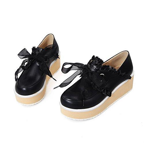 AgooLar Femme Matière Souple Rond à Talon Correct Lacet Couleur Unie Chaussures Légeres Noir