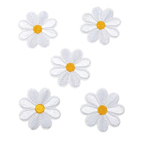 HENGSONG 5 Stück Blumen Aufnäher Stickerei Applikationen Set Patches Zum Aufbügeln für T-Shirt Jeans Kleidung Taschen Hut Dekor (Weiß) (Stickerei Patch Patches)