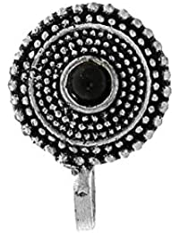 Anuradha Art Silver Oxidised Finish Round Shape Designer Adorable Press On Nose Ring/Pin For Women/Girls