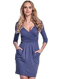 Glamour Empire. Femme Robe tulipe avec poches décolleté cache-coeur S-4XL. 236