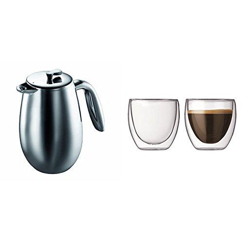 Bodum 1303-16 Bodum Columbia Cafetière à Piston en Inox Brillant Double Paroi 3 Tasses 0,35 L + Set de 2 verres Pavina 8 cl