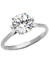 3 Carat CZ Engagement and Proposal Solitaire 10 ct White Gold Ring