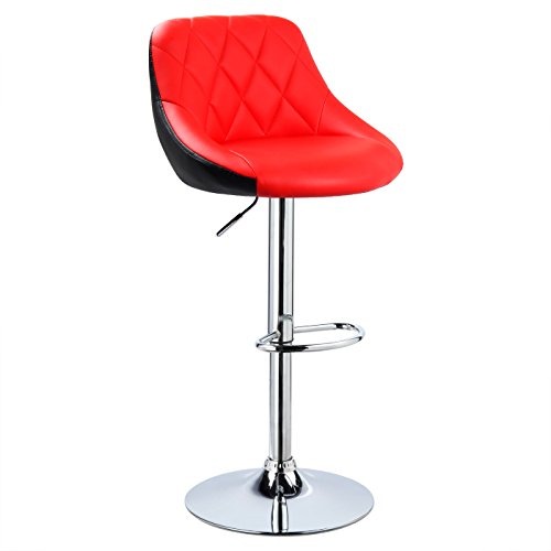 Woltu® bh30rt-1 sgabello da bar sedia girevole cucina con schienale poggiapiedi similpelle cromato altezza regolabile moderno rosso 1 pezzo