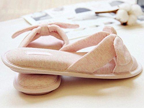 Minetom Donne Estate Bowknot Babouche Open-toed Bellissimo Interno Anti Scivolo Pantofole Rosa