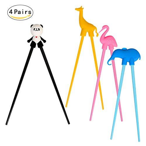 täbchen,LANMOK Japanische Besteck Set Tiere Lernen Stäbchen für Erwachsene Anfänger Kinder Senioren Chopsticks- Panda Flamingo Giraffe Elefant (Wie Man Mit Stäbchen)