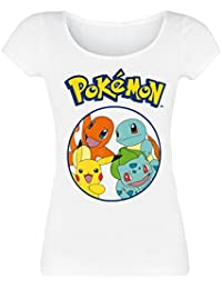 Pokemon Pokemons in Circle Camiseta Mujer Blanco