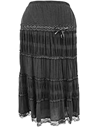 The Home of Fashion Plus Size Black Designer Inspired Tiered Maxi Skirt