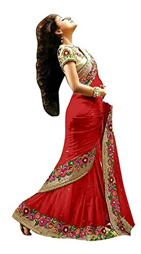 I-Brand Women's Faux Crepe Saree (Isunsa608_Red)