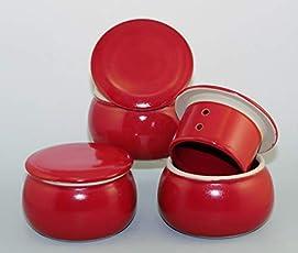 Unbekannt original französische wassergekühlte keramik butterdose, nie mehr harte butter zum frühstück. ca 250 g butter, glänzend cherryrot B-G