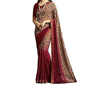 Attire Design Georgette Saree With Blouse Piece (26 Maroonpadiing_Dark Maroon_Free Size)