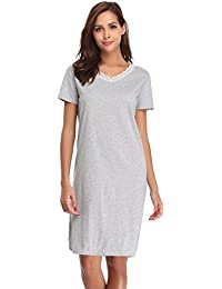 Hawiton Women Cotton Nightwear Lace V Neck Nightdress Short Sleeve Plain Nightgown  Nightie Loungewear 77a1155f0